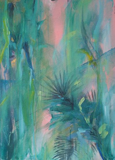 Palms on pink, 54 x 61cm