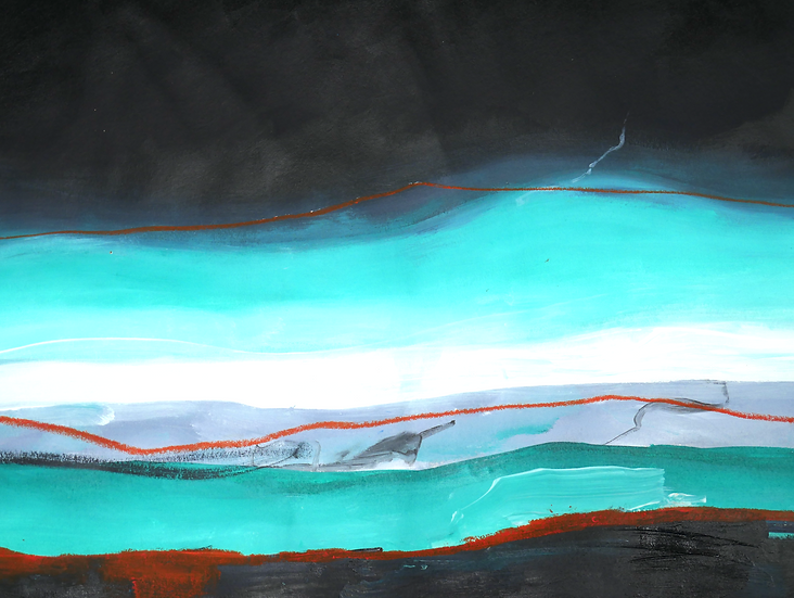 Pthalo landscape with orange, 56 x 45cm
