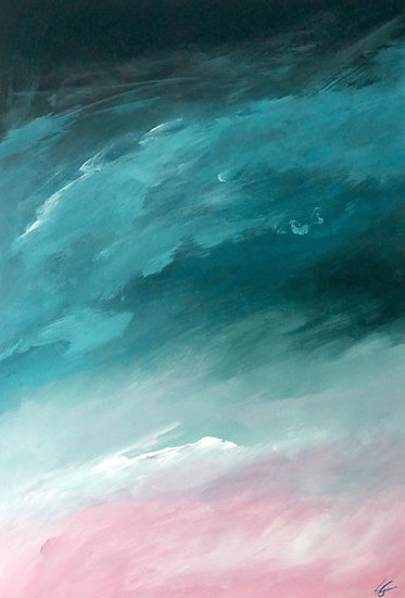 Pink and teal, 29.7 x 21cm