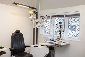 Eye test room at Keith Murphy Opticians