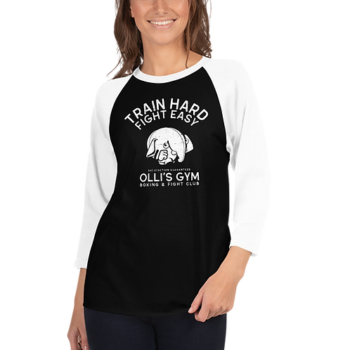 Train Hard 3/4 sleeve raglan shirt