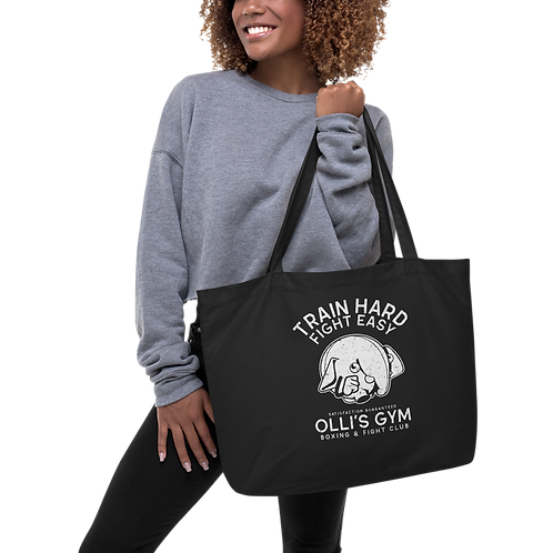 Train Hard Large organic tote bag