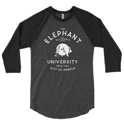 Elephant University 3/4 sleeve raglan shirt