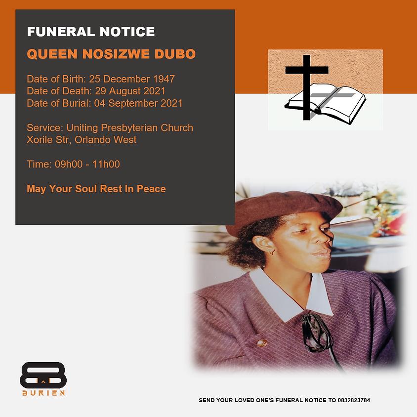 Funeral Notice Of The Late Queen Nosizwe Dubo
