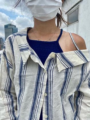 藍白間條跌膊罩衣