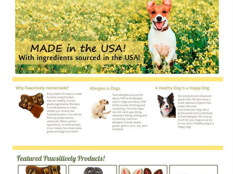 Pawsitively Homemade Treats Web Design
