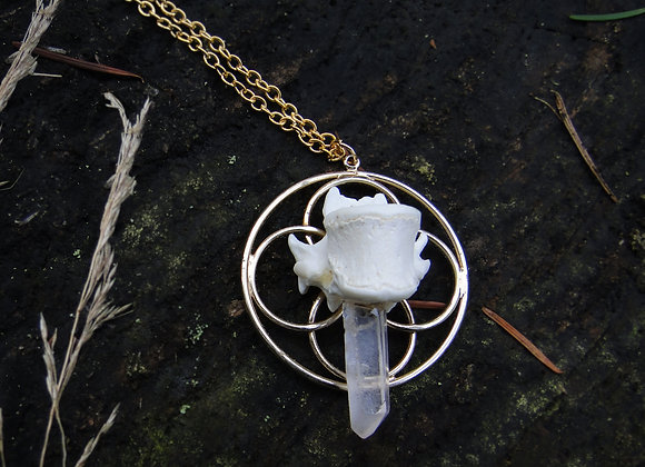 Geometry Bone and Quartz Pendant Necklace