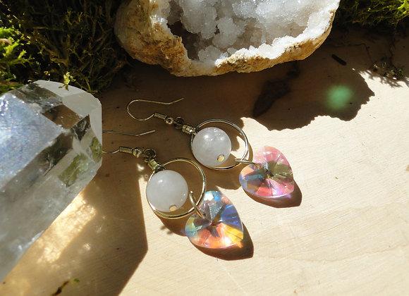 Rose Quartz Heart Sun Catcher Earrings