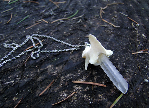 Vintage Silver Quartz and Bone Necklace