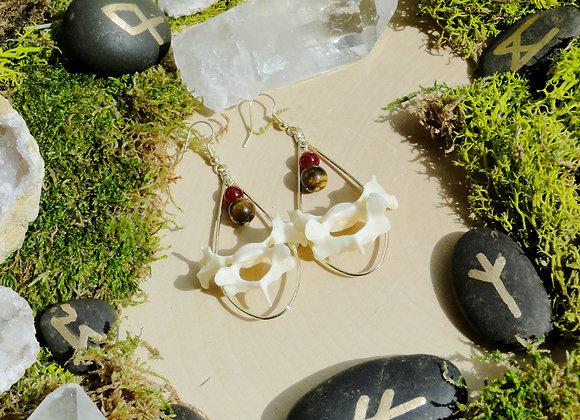 Tigers Eye & Garnet Bone Dangle Earrings