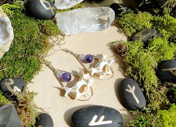 Amethyst & Purple Quartzite Bone Dangle Earrings