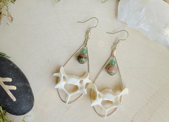 Unikite & Jade Bone Dangle Earrings