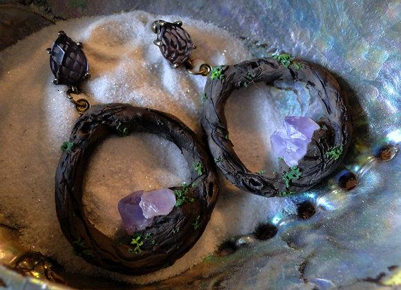 Forest Amethyst Hoop Earrings Small