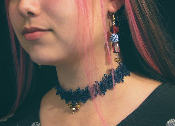 Vintage Lace Choker Pyrite Beads