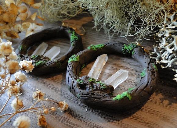 Forest Clear Quartz Hoop Earrings