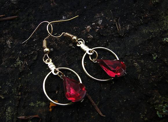 Red Gemstone Small Dangle Earrings