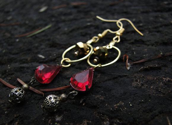 Red Gemstone Dangle Earrings