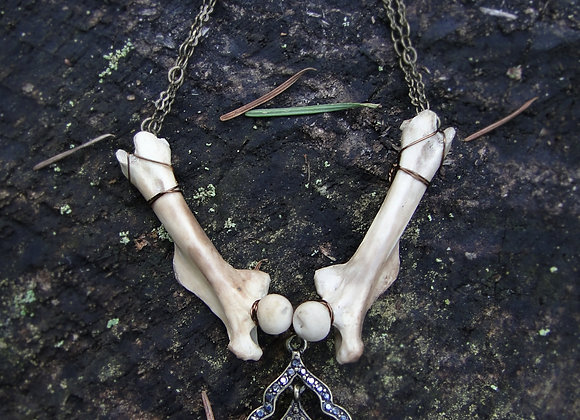 Vintage Jeweled Pendant and Bone Necklace