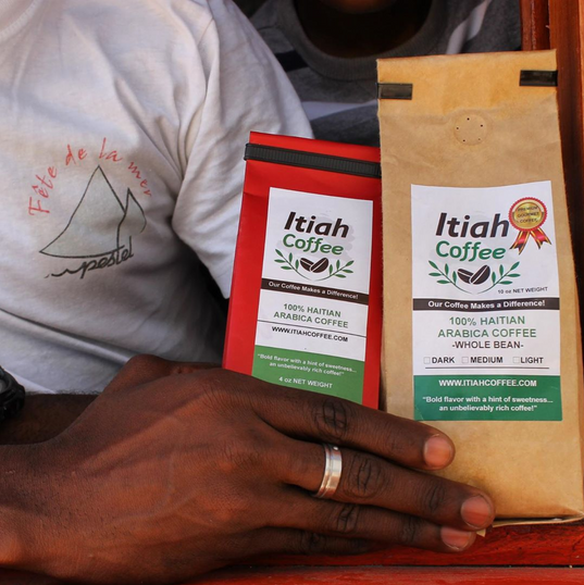 4oz and 10oz Itiah Coffee Bags. Pictured in Pestle, Haiti