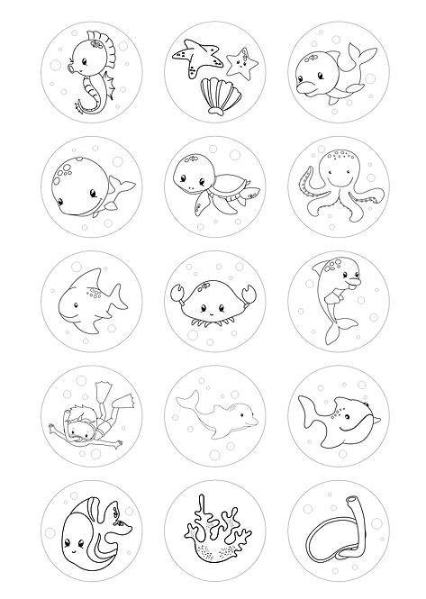 CÍRCULOS DE 5 CM | Desenhos para colorir | Animais Marinhos