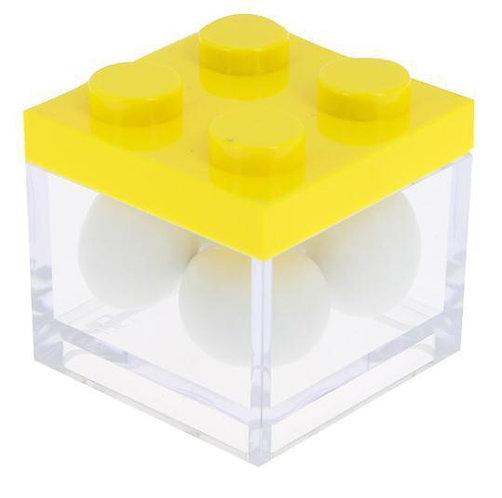 MINI CAIXA LEGO AMARELA/TRANSPARENTE   5 X 5 X 5CM