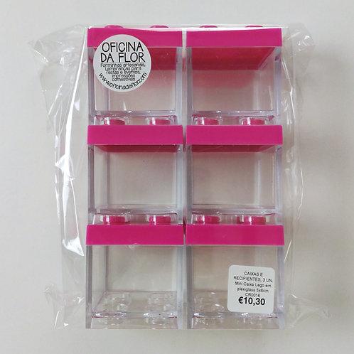 6 X MINI CAIXA LEGO EM PLEXIGLASS | 5X6CM | ROSA ESCURO