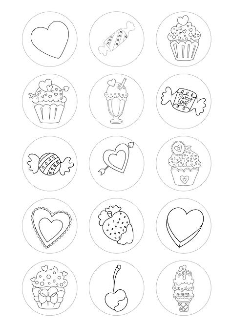 CÍRCULOS DE 5 CM | Desenhos para colorir | Doces com Amor