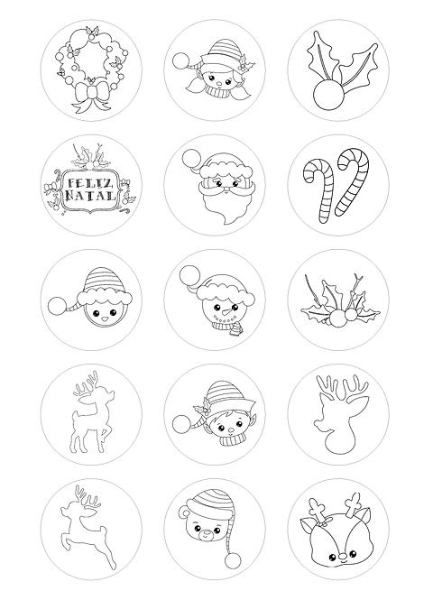 CÍRCULOS DE 5 CM | Desenhos para colorir | Natal