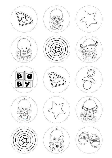 CÍRCULOS DE 5 CM   Desenhos para colorir   Bebés Heróis