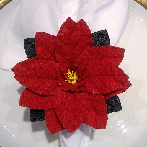 ARGOLA DE GUARDANAPO | Flor de Natal (Poinsétia) | 4 Unidades