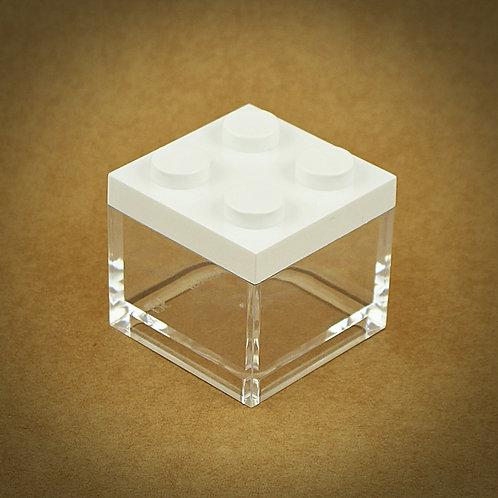 6 X MINI CAIXA LEGO EM PLEXIGLASS | BRANCO
