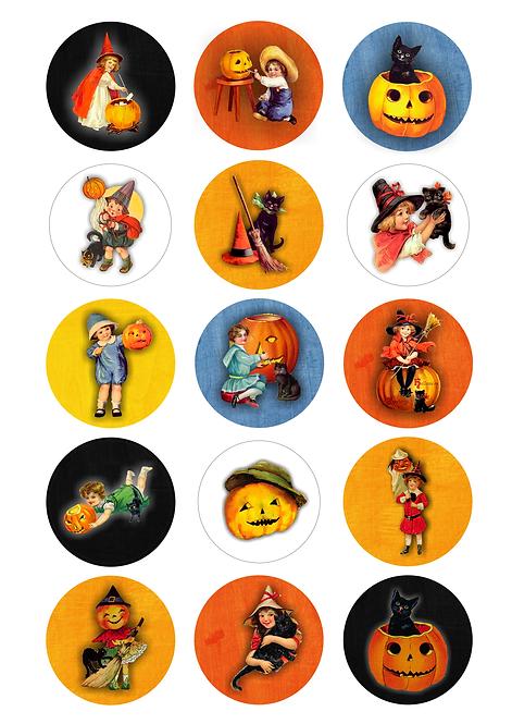 CÍRCULOS DE 5 CM   Halloween Vintage   Modelo 1
