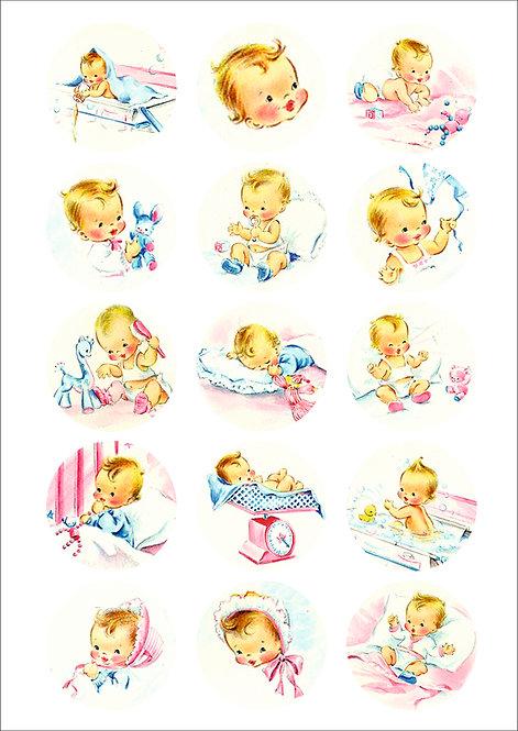 CÍRCULOS DE 5 CM | Baby Vintage | Modelo 2