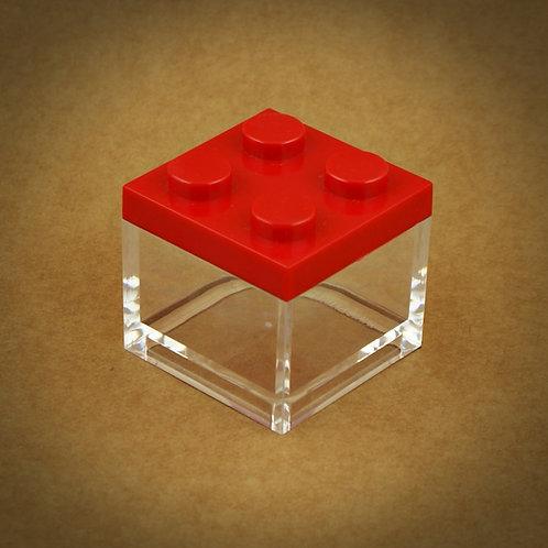 6 X MINI CAIXA LEGO EM PLEXIGLASS | VERMELHO