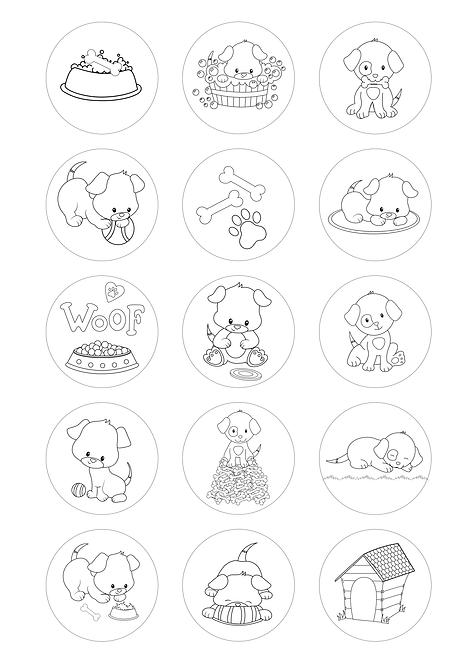 CÍRCULOS DE 5 CM | Desenhos para colorir | Cães