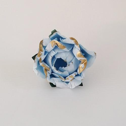 ARGOLA DE GUARDANAPO | Azul Claro com Dourado