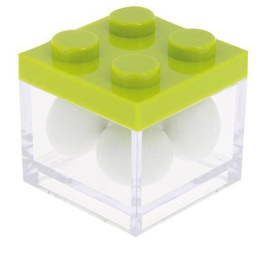 MINI CAIXA LEGO VERDE/TRANSPARENTE   5 X 5 X 5 CM