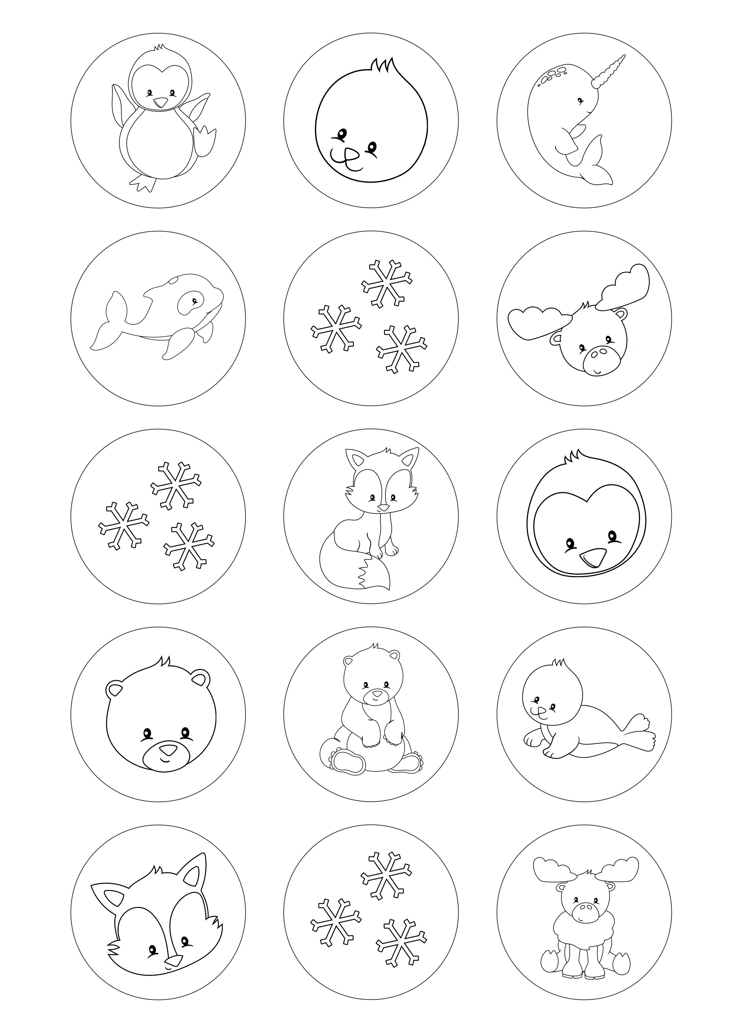 Círculos De 5 Cm Desenhos Para Colorir Animais Do Gelo