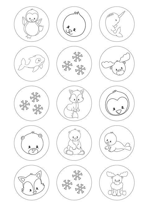 CÍRCULOS DE 5 CM | Desenhos para colorir | Animais do Gelo
