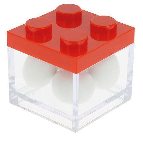 MINI CAIXA LEGO VERMELHA/TRANSPARENTE | 5X5X5 CM