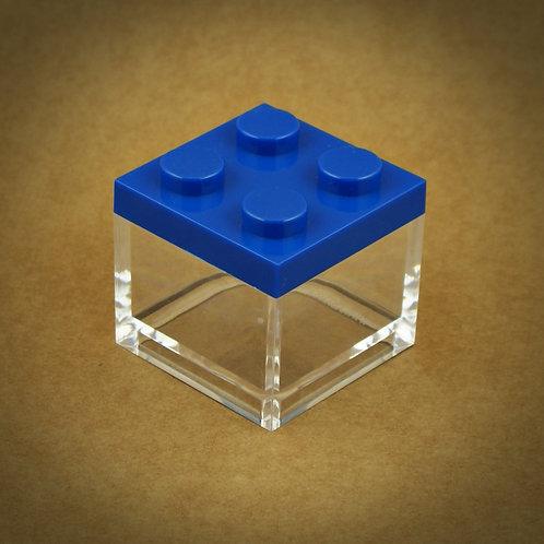 6 X MINI CAIXA LEGO EM PLEXIGLASS | AZUL ESCURO
