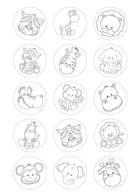 CÍRCULOS DE 5 CM | Desenhos para colorir | Animais da Selva