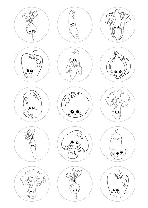 CÍRCULOS DE 5 CM | Desenhos para colorir | Legumes e Vegetais