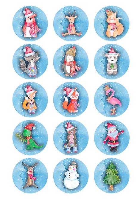 CÍRCULOS DE 5 CM | Woodland Christmas