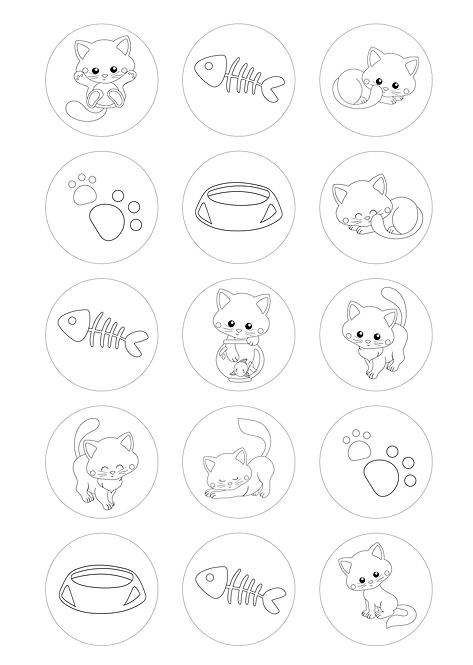 CÍRCULOS DE 5 CM | Desenhos para colorir | Gatinhos