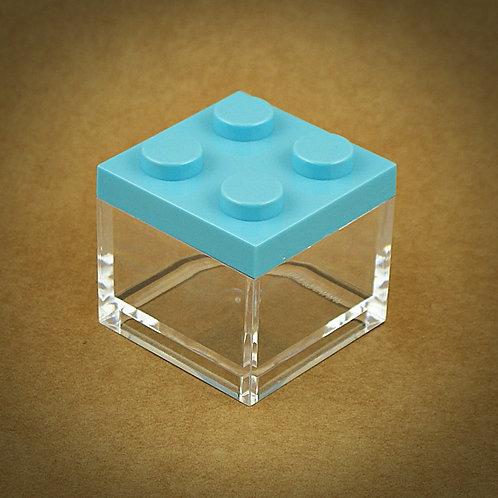 6 X MINI CAIXA LEGO EM PLEXIGLASS   AZUL CLARO