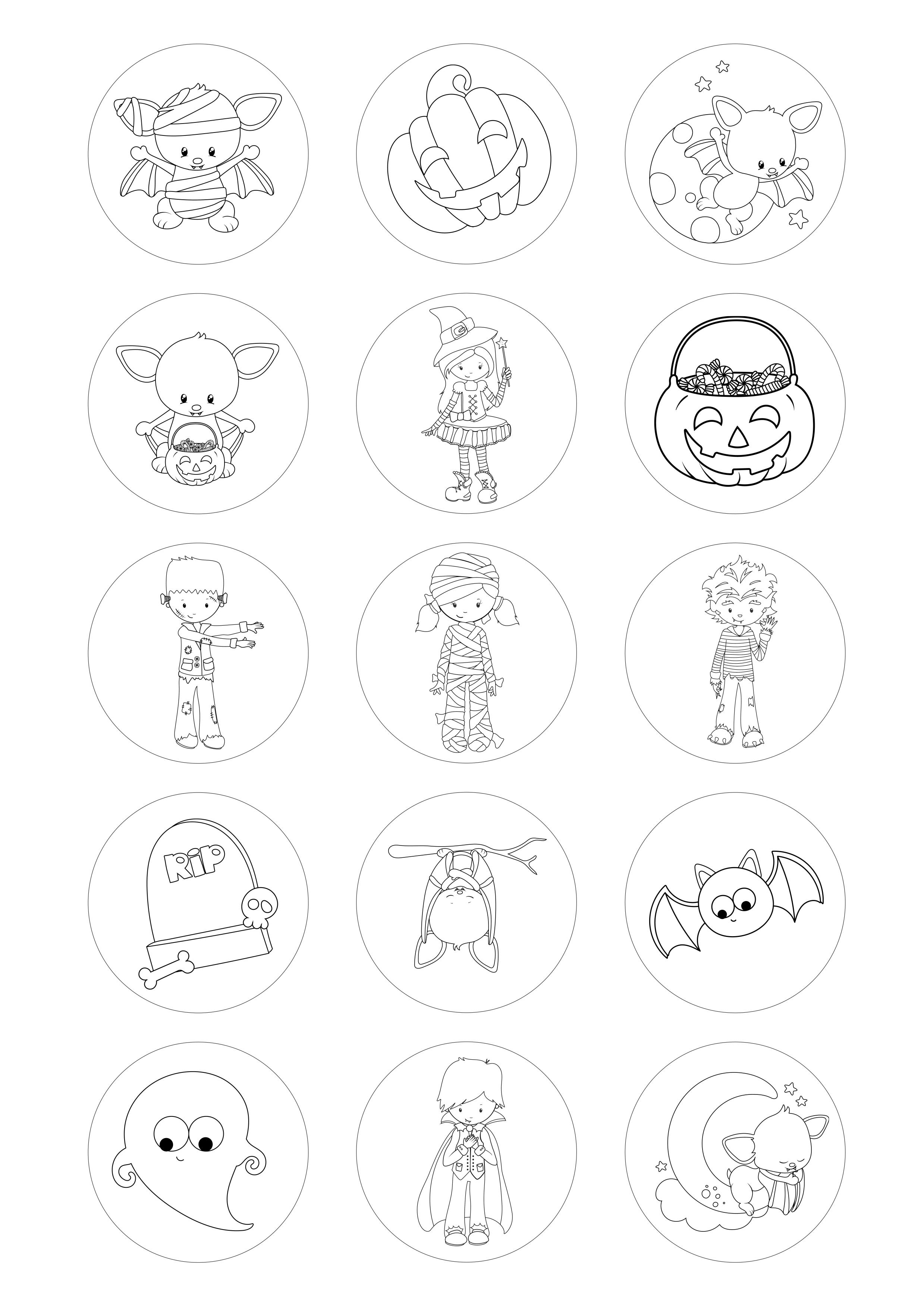 Circulos De 5 Cm Desenhos Para Colorir Halloween Modelo 2