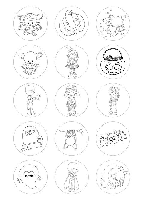 CÍRCULOS DE 5 CM | Desenhos para colorir | Halloween | Modelo 2