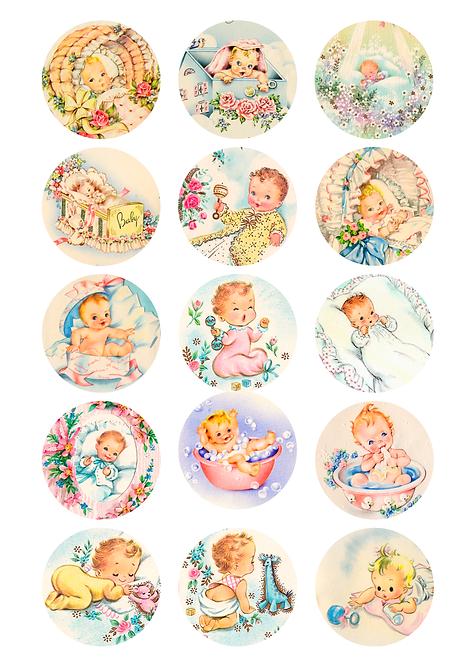 CÍRCULOS DE 5 CM   Baby Vintage   Modelo 4