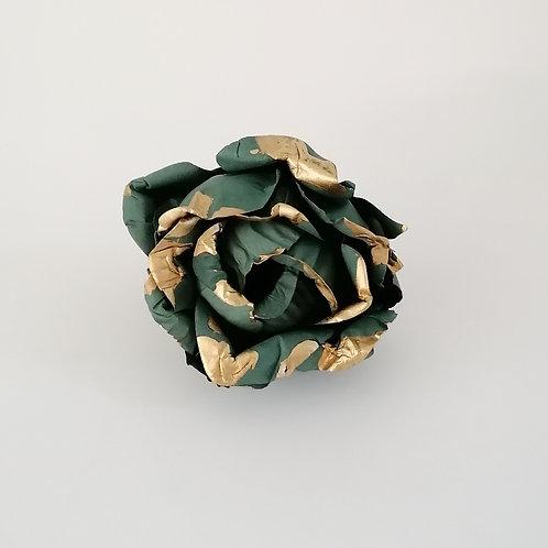 ARGOLA DE GUARDANAPO   Verde Musgo com Dourado
